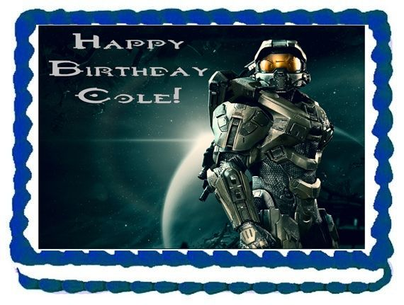 Halo Edible Image quarter sheet cake Halo cake topper frosting