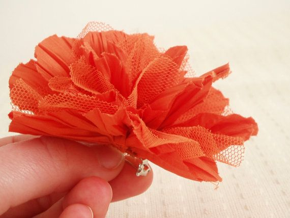 Peony fabric brooch in orange by MadameRenard on Etsy, $7.00