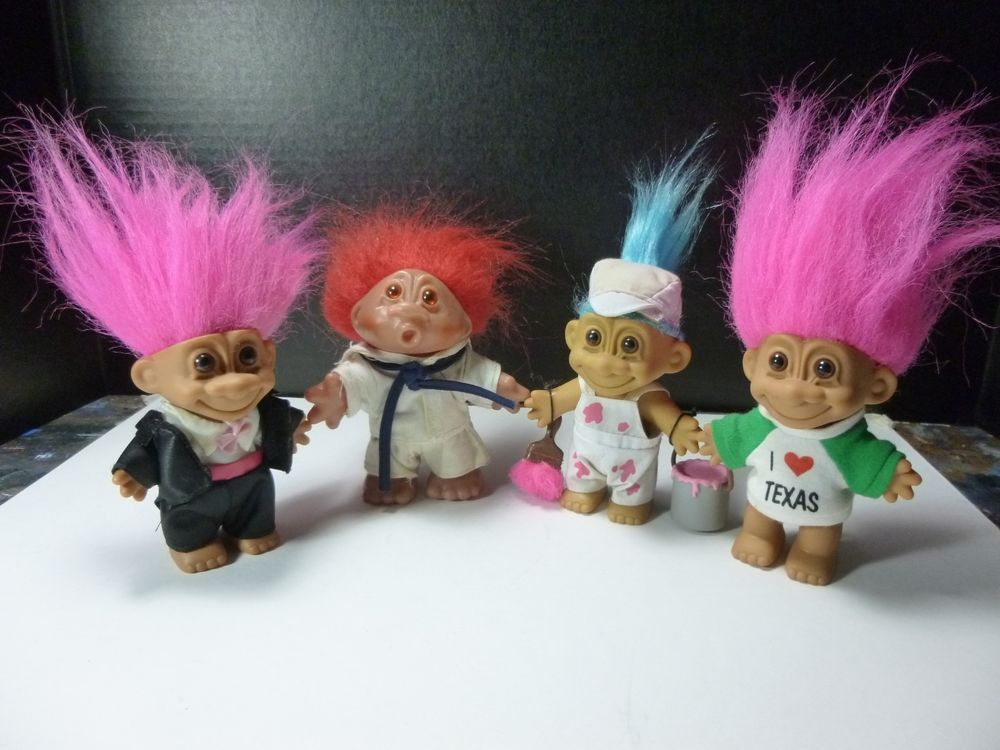Vintage Russ 5 Trolls Dolls With Colored Hair Pinterest