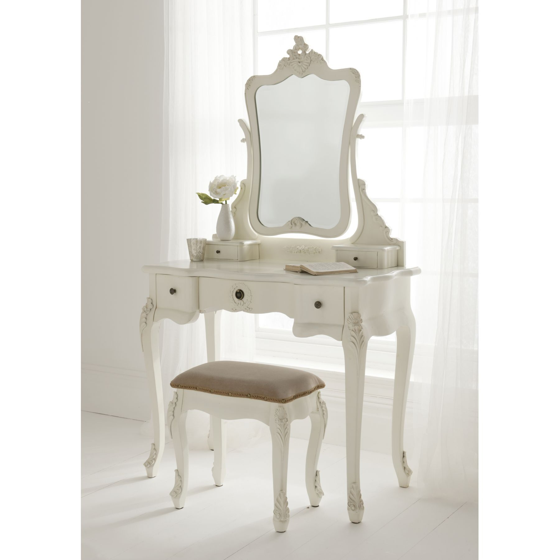 Antique White Wooden French Dressing Tables Mirror With