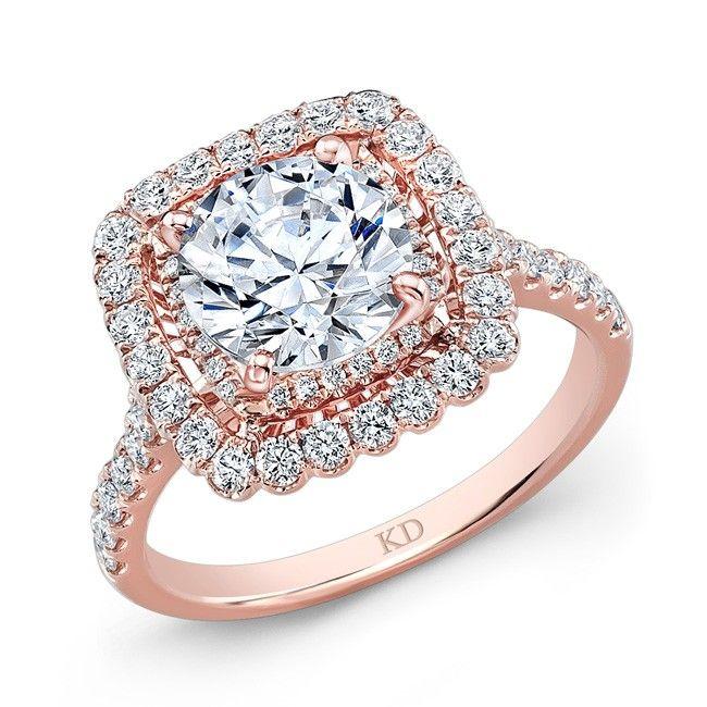 siemer jewelers ard1113 kattan 18k rose gold diamond square halo engagement ring with 074 carat total - Square Wedding Rings