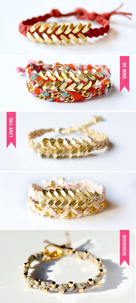gold/fabric bracelet--unique!