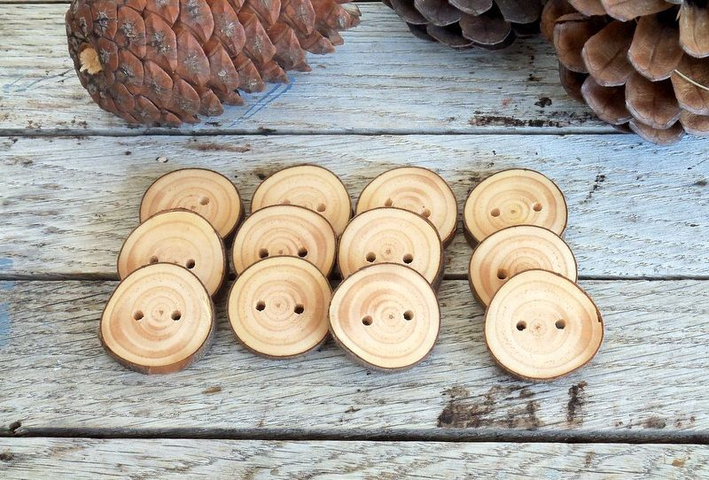 Wood Buttons-12 handmade red pine tree branch buttons - 1 1/5 inches in diameter.For knitting hats,crochet hats,handbags,pillows, $14