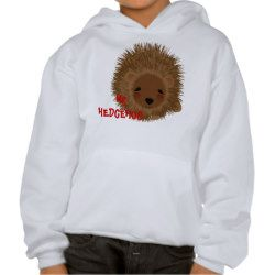 Fun Whimsy Mr Hedgehog Picture Hooded Pullovers