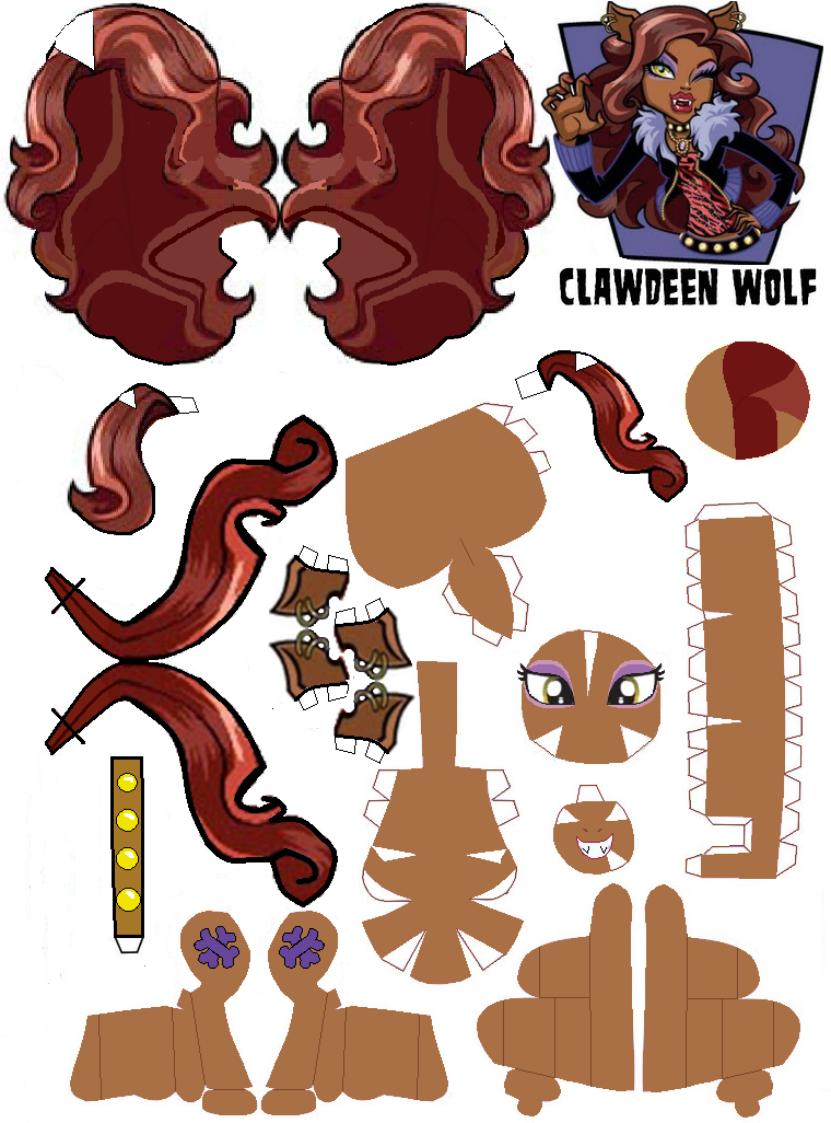 Monster High: Clawdeen Wolf 3D Free Printable Paper Toy.   Monster ...