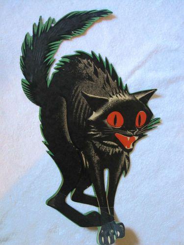Vintage Die Cut Black Cat Halloween Decoration 21\ - halloween decorations black cat