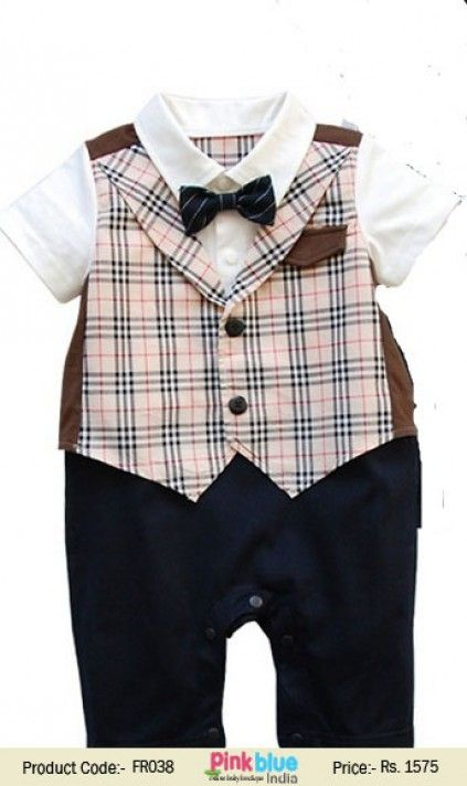 39bd07b73a9 Baby Boy Wedding Check Romper Bodysuit Suit with Attach Black Bowtie ...