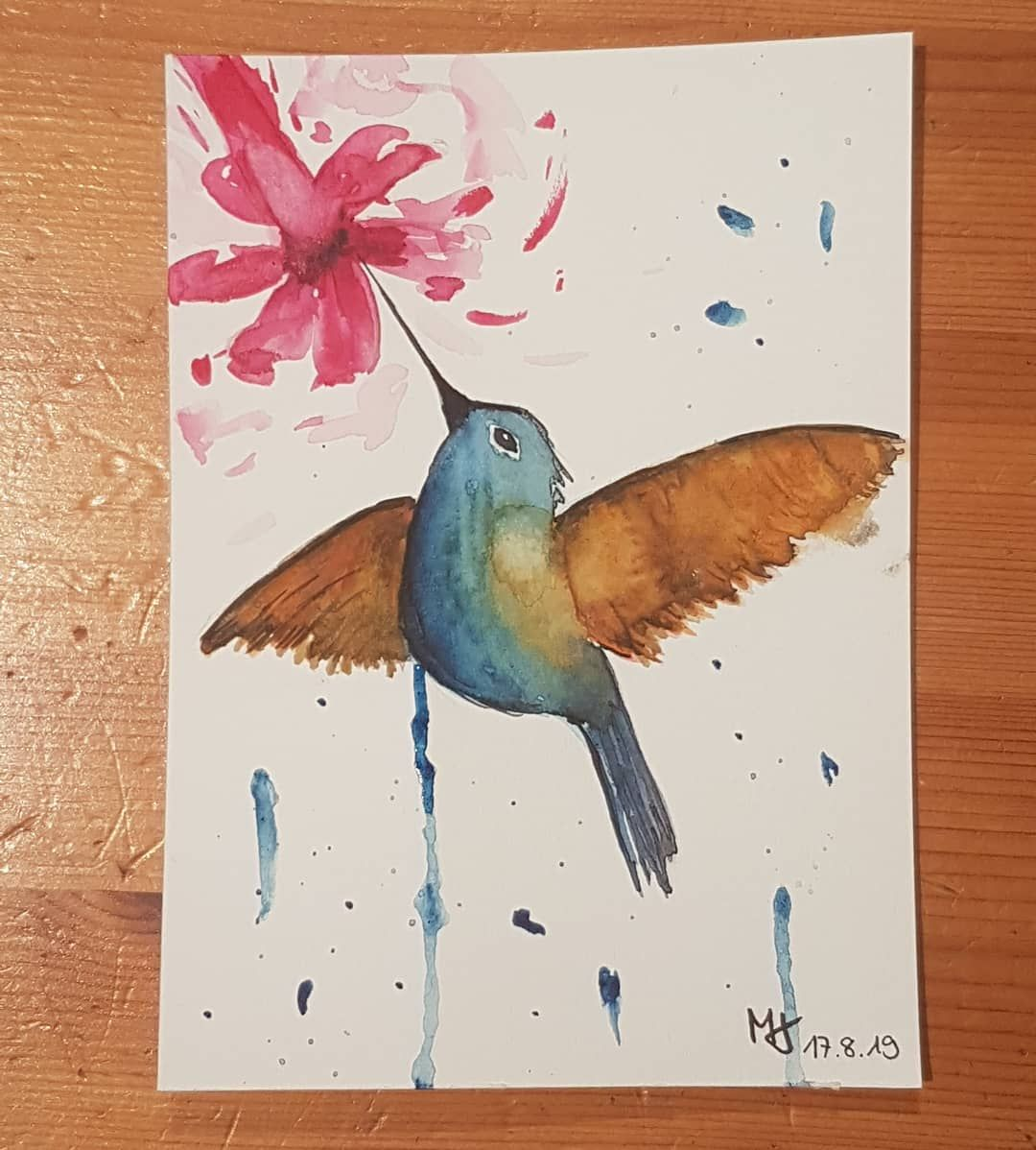 Kolibri Aquarell Watercolours Kolibri Vogel Art
