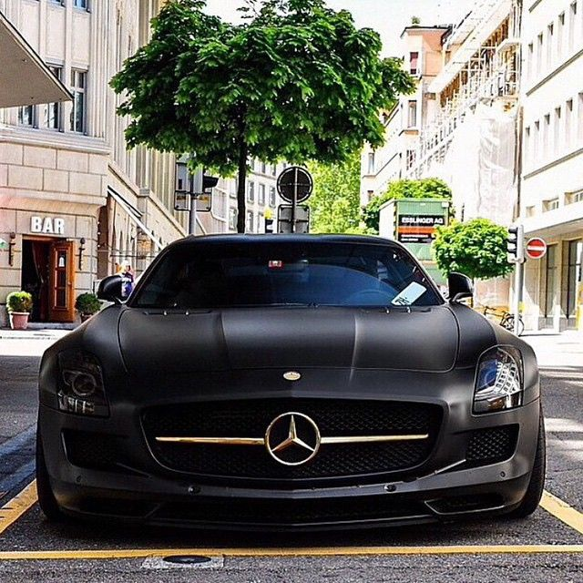 Matte Black Mercedes SLS With Gold Details