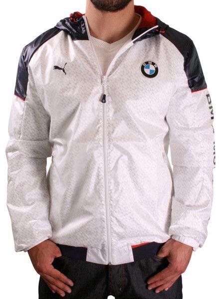 White Puma BMW Motorsport Men s Windbreaker Jacket Hoodie  264cb210cacc8