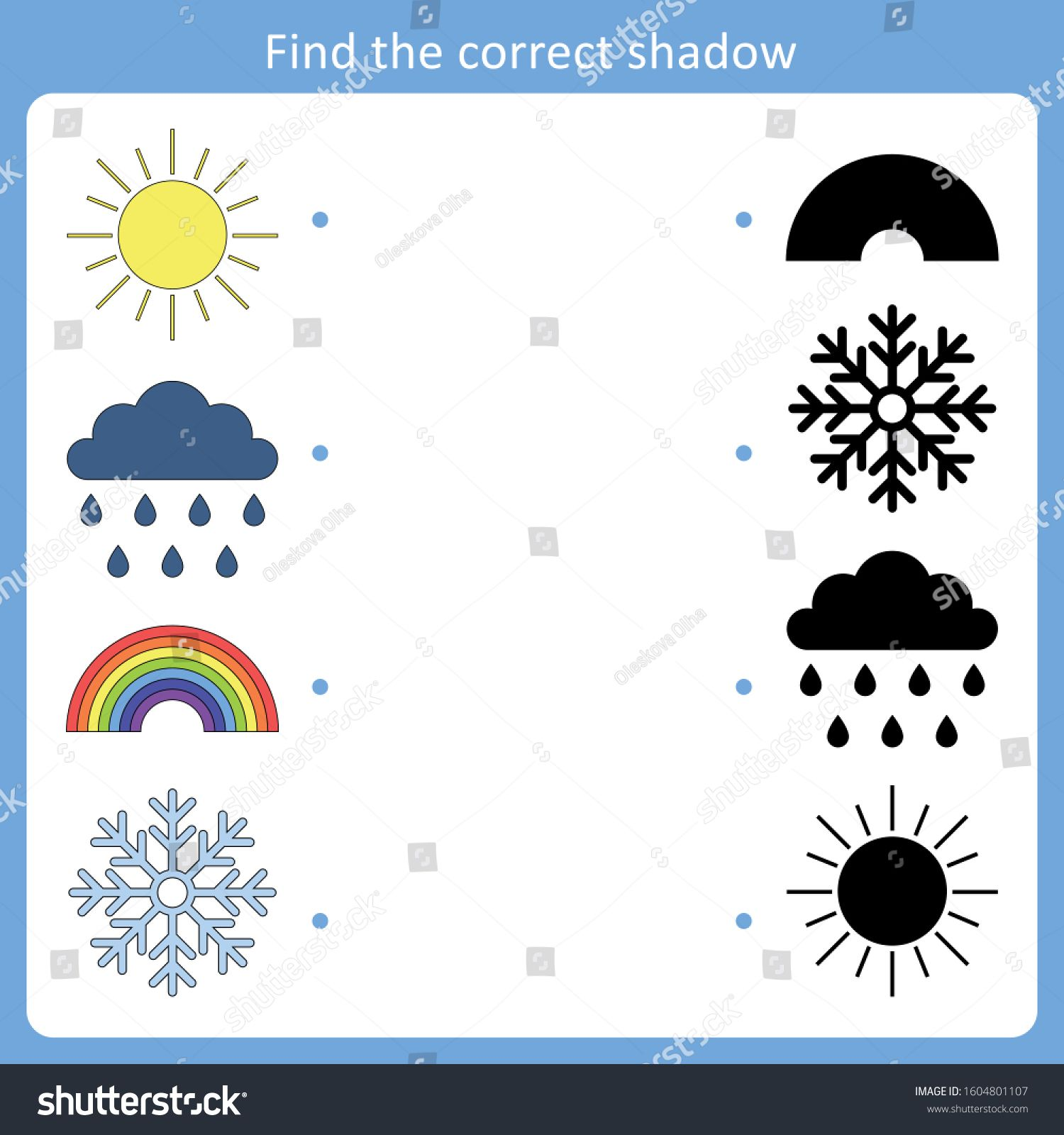 Find The Correct Shadow For Weather Symbols Vector