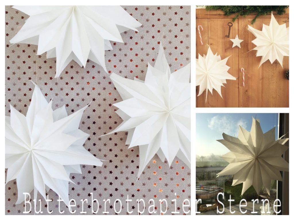 Sterne aus Butterbrotpapier, Butterbrottütensterne, Brottütensterne, Sterne