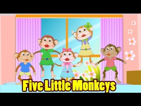 Five Little Monkeys Jumping On The Bed With Lyrics Kids Songs Nursery Rhymes By Eflashapps Five Little Monkeys Nursery Rhymes Monkey Nursery