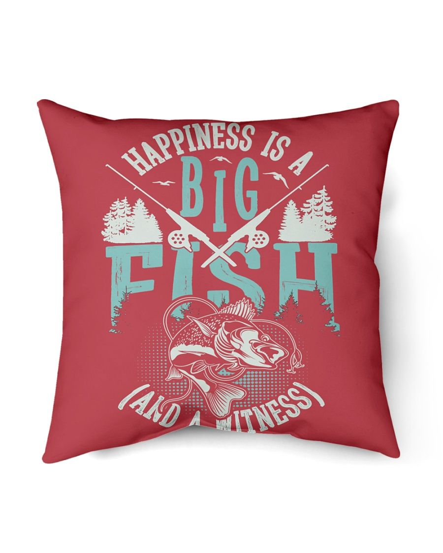 """Happiness is A Big Fish And A Witness T-Shirt Indoor Pillow - 16"""" x 16"""" - {size} True Red"""