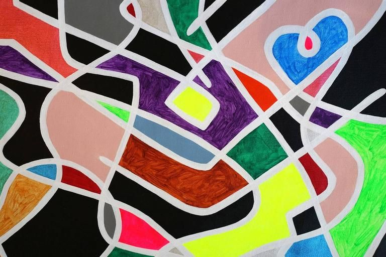 Abstract Painting Colorful Bold Lines Geometric Shapes