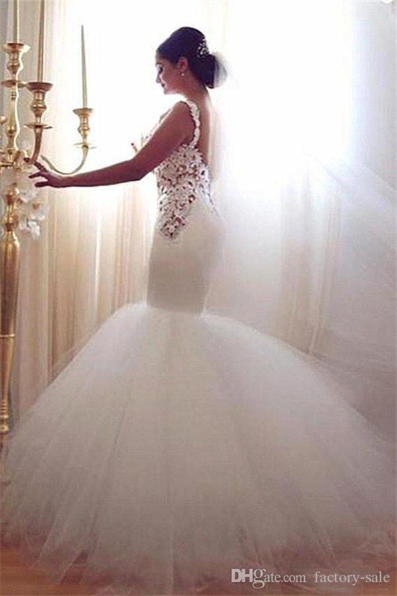 Lace applique whiteivory backless mermaid wedding dress plus size