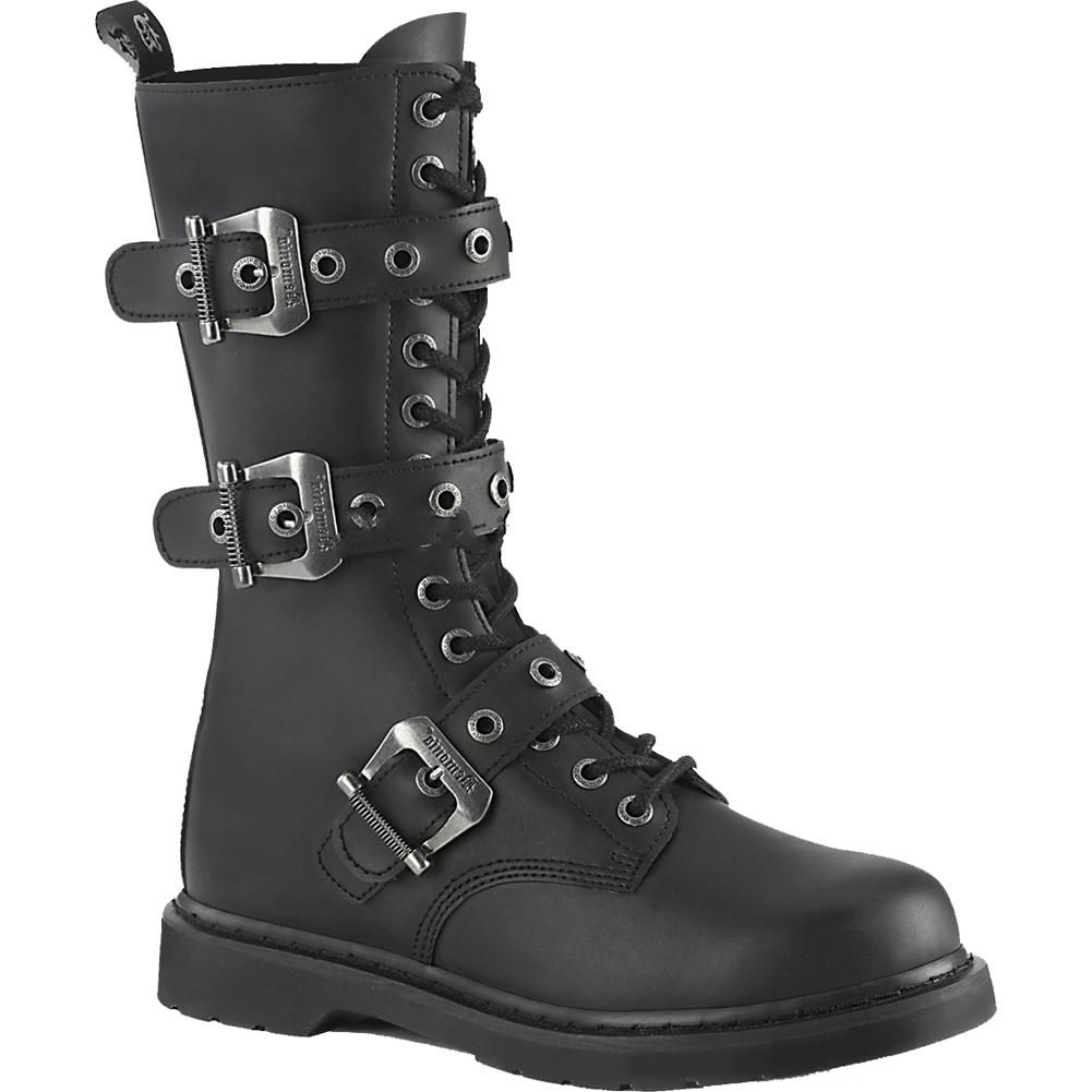 a520275129f5 Inked Boutique - Demonia BOLT-330 Mid-Calf Combat Boot Black Goth Punk  Buckles www.inkedboutique.com