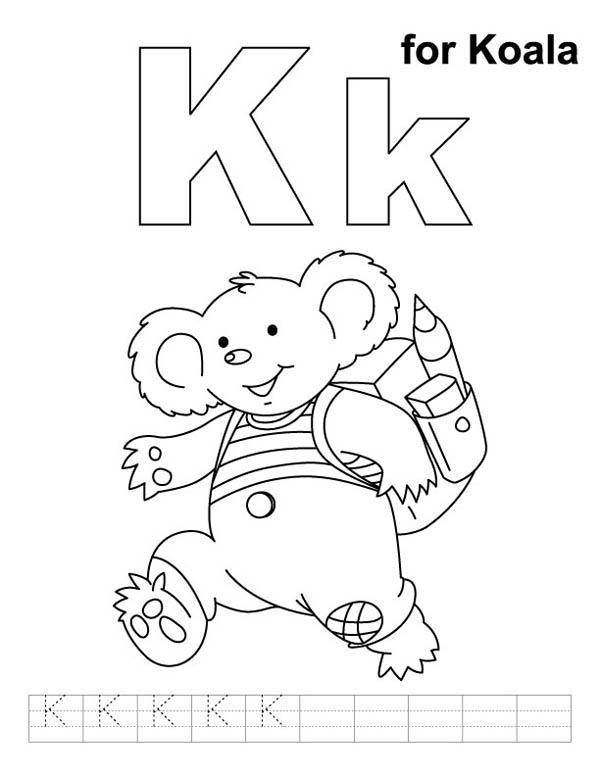 Koala For Letter K Coloring Page Bulk Color Alphabet Coloring Pages Abc Coloring Coloring Pages