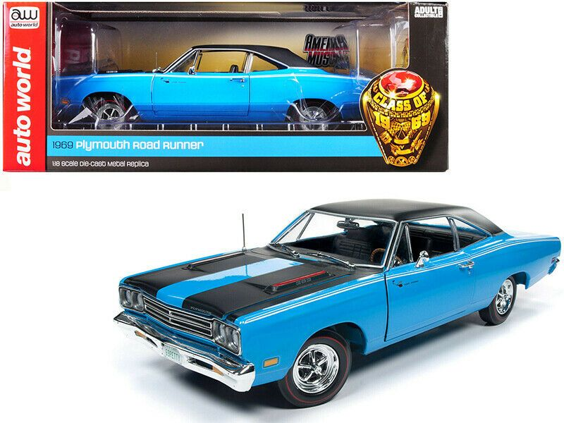1969 Plymouth Road Runner Hardtop Petty Blue With Black Top And Black Stripes 1 Autoworld Plymouth Roadrunner Diecast Model Cars Car Model
