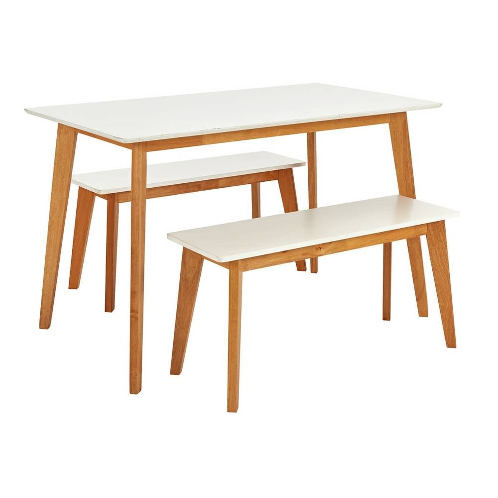 Buy Argos Home Harlow Dining Table & 2 White Benches
