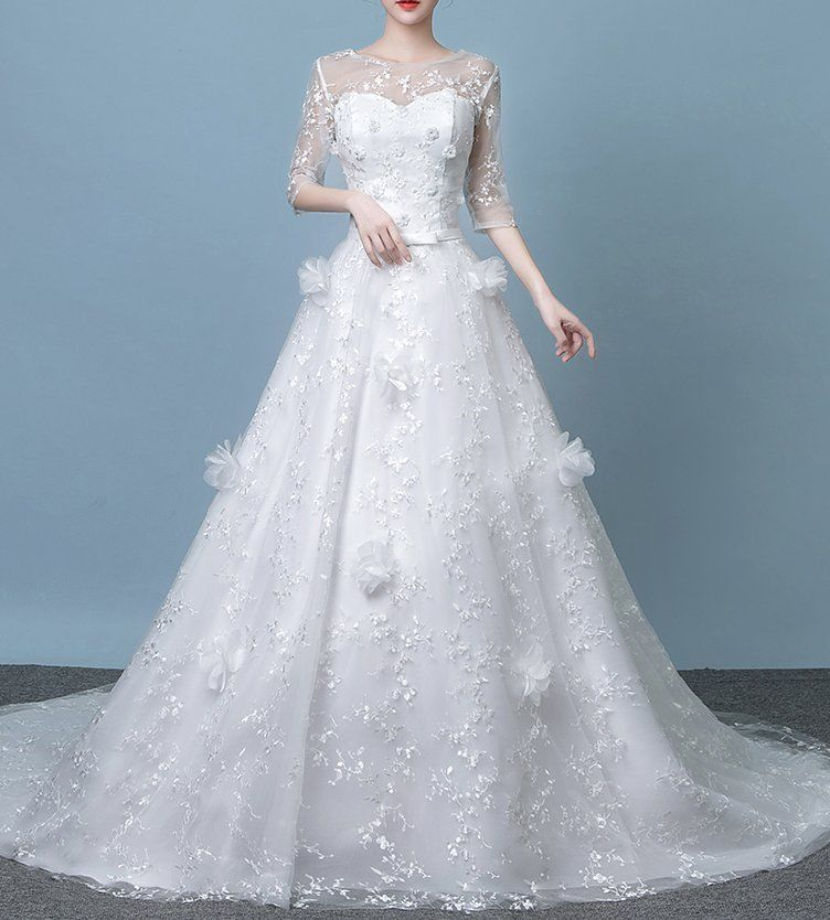 New Bridal Wedding Dress lace A line lace flower gown Bohemian Boho ...
