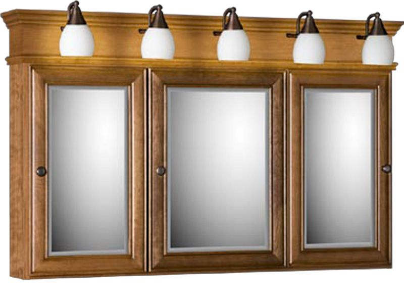 Illuminated Mirrored Bathroom Cabinet Ip44 Rated: Strasser Tri-view Medicine Cabinet With Three Mirror Doors