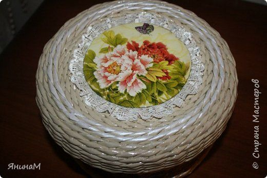 Декор предметов Декупаж Плетение Шкатулочки Бумага газетная Трубочки бумажные фото 12