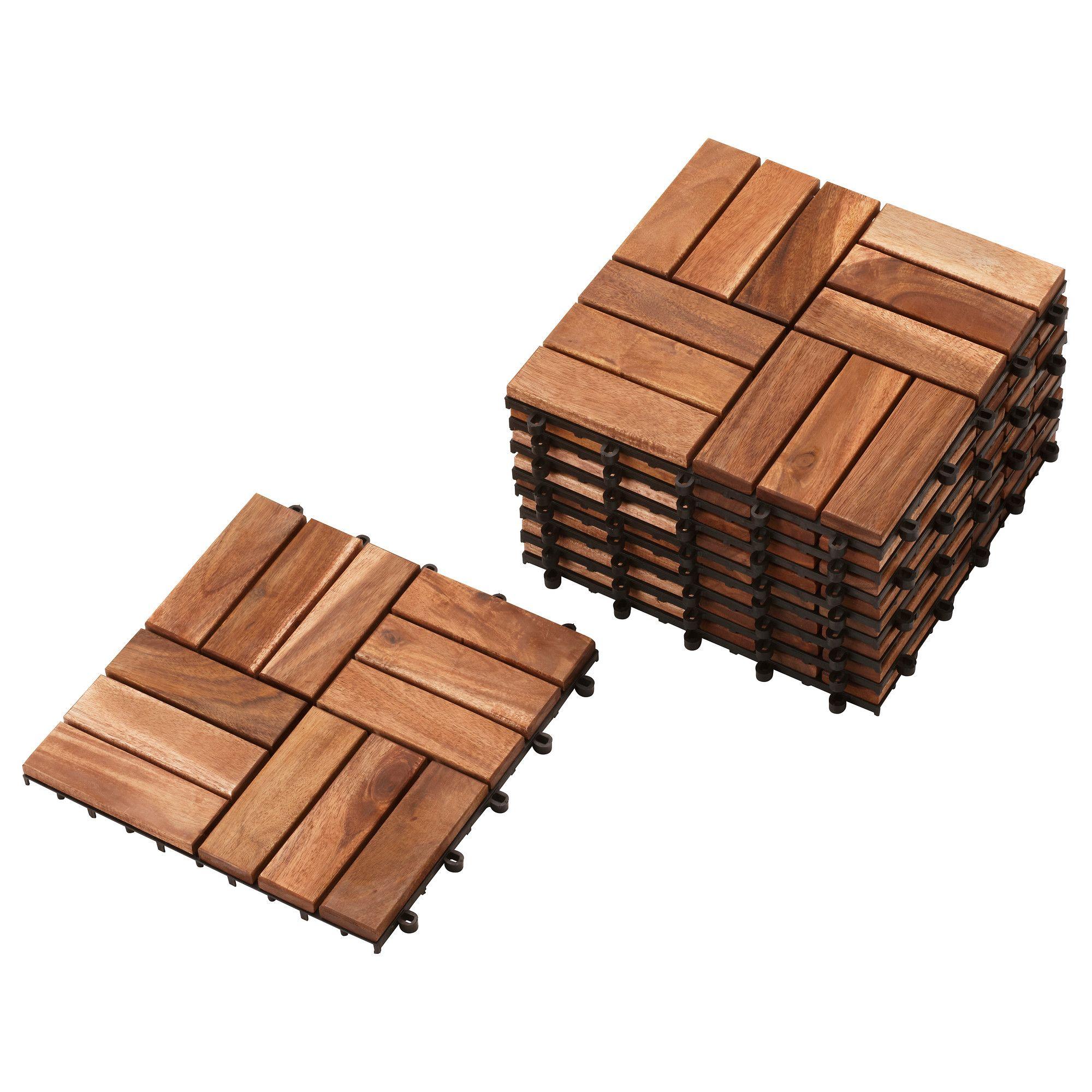 RUNNEN Floor decking outdoor brown stained brown