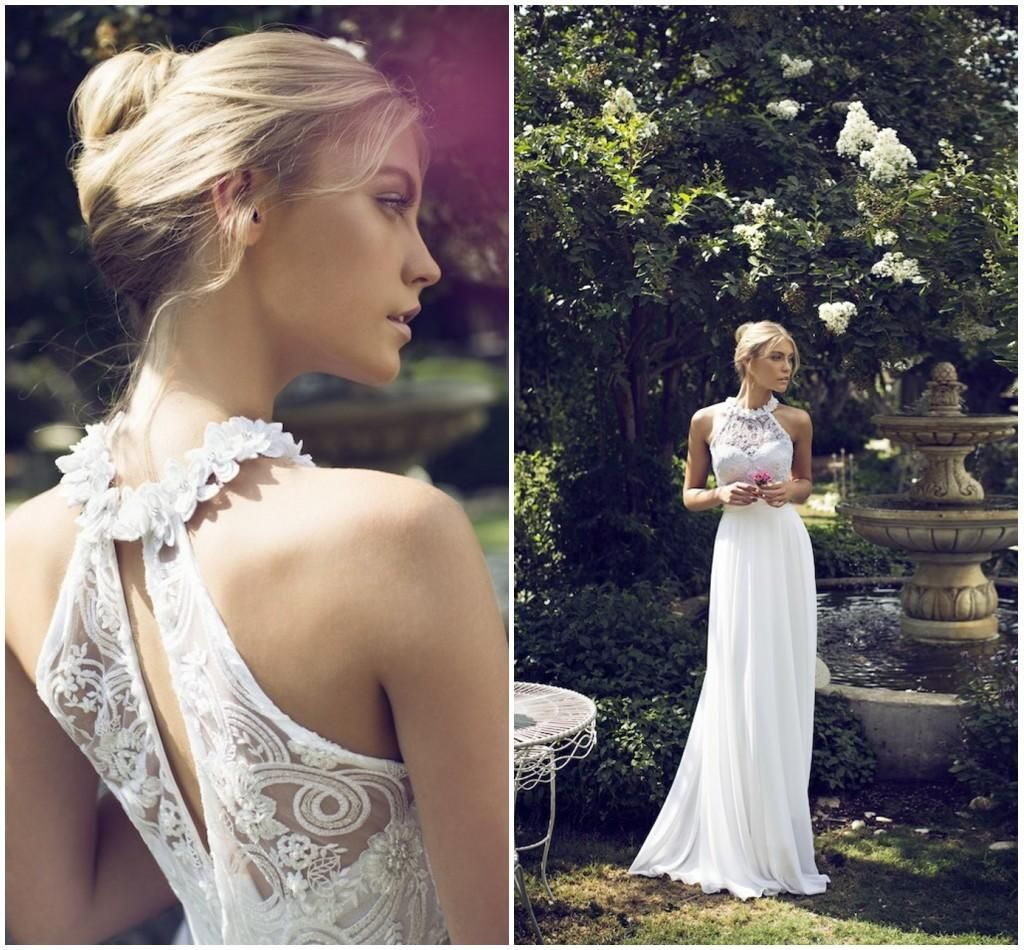 2015 Riki Dalal Chiffon Wedding Dresses Bohemian Beach Garden Bridal Gowns Floral Halter Strap Backless Top Luxury Beaded Lace Bridal Gowns End Of Line Wedding Dresses Line Wedding Dresses From Gardeniadh, $175.92| Dhgate.Com