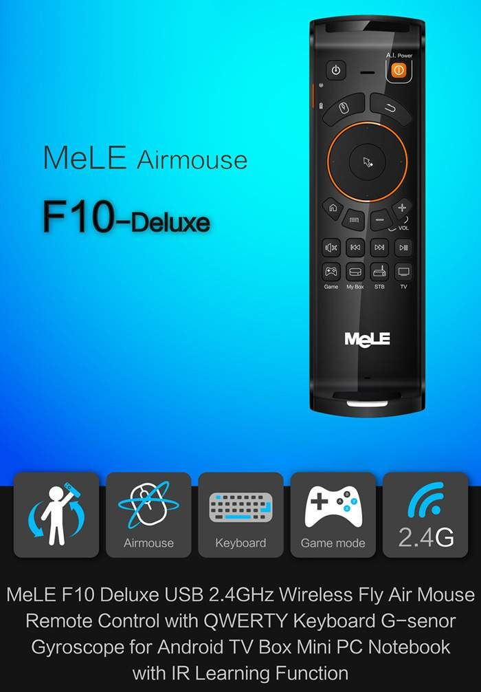 Mele F10 Deluxe 2.4GHz Wireless Air Mouse Keyboard $13 free shipping