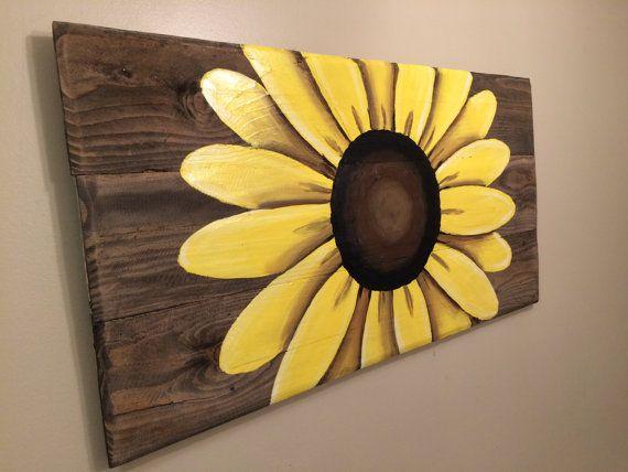 Arte de madera reciclada sign girasol medida por HippieHoundUSA