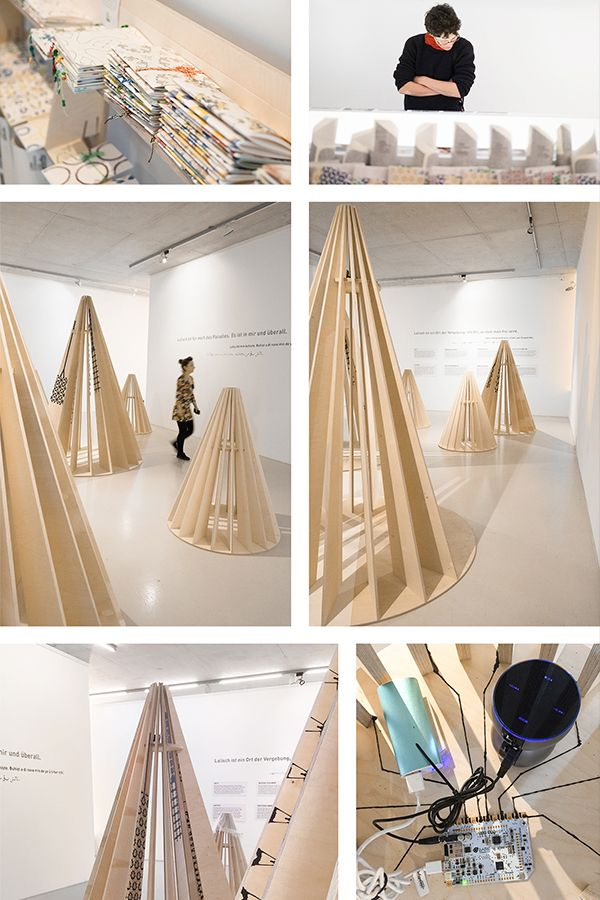 The exhibition is created to red-flag the genocide committed by the Daesh against the Yazidis in North Iraq. The main goal of the project is to give a voice to the victims. Characteristic Yazidi towers become interactive walk-in sculptures. By touching the tower the sound of the Yazidi women appears out of the wooden sheets and creates a sacral acoustic through the whole exhibition area. #exhibitiondesign #interactiveart #Ausstellung #humanrights #charity #touchboard #arduinoprojects