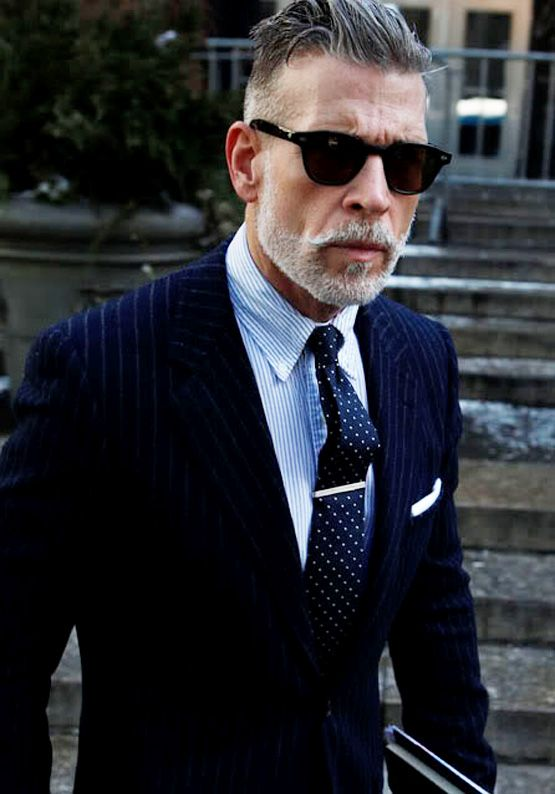 nick-wooster-slim-fit-pinstripe-suit-navy-sunglasses-beard-dotted ...