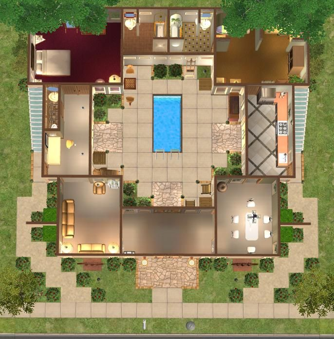 Floor Plans With Courtyard Google Search Courtyard House Plans Courtyard House House Design