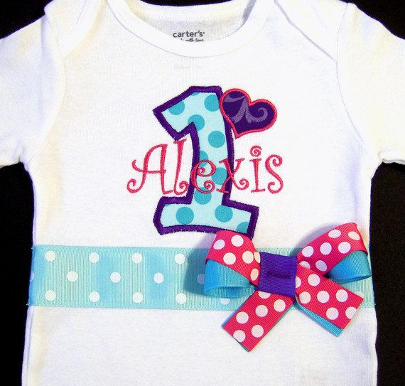First Birthday Girl Bodysuit Purple Turquoise Pink by whimsytots, $31.50