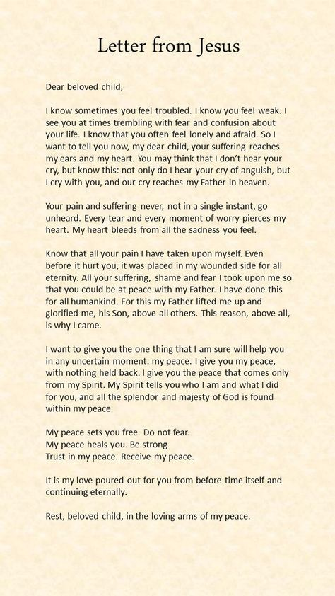 Letter from Jesus From the man above Pinterest Faith, Prayers