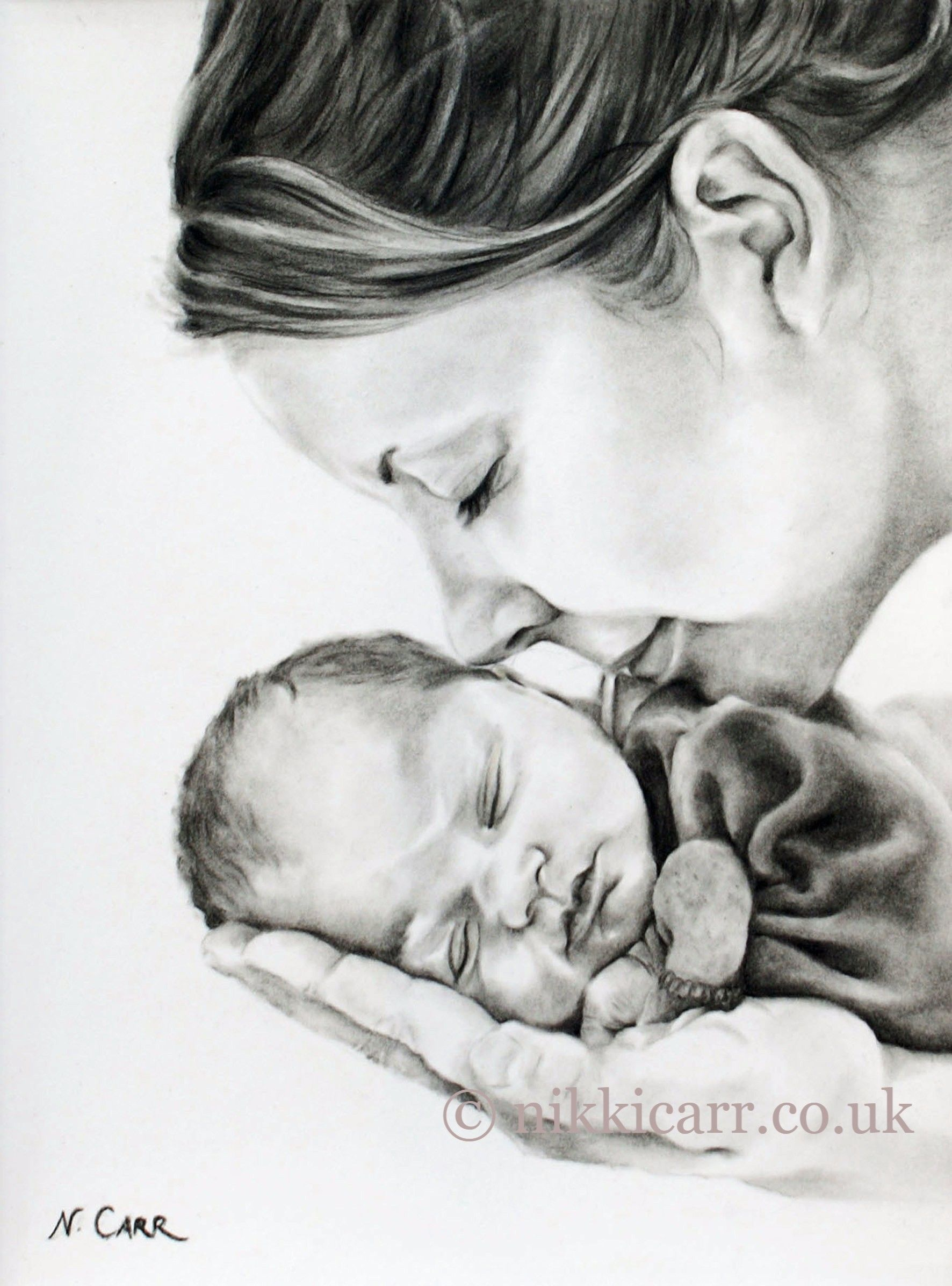 Drawing of a mother holding her babys head mothers love by artist nikki carr £50 black and white also available as a beautiful art card £2