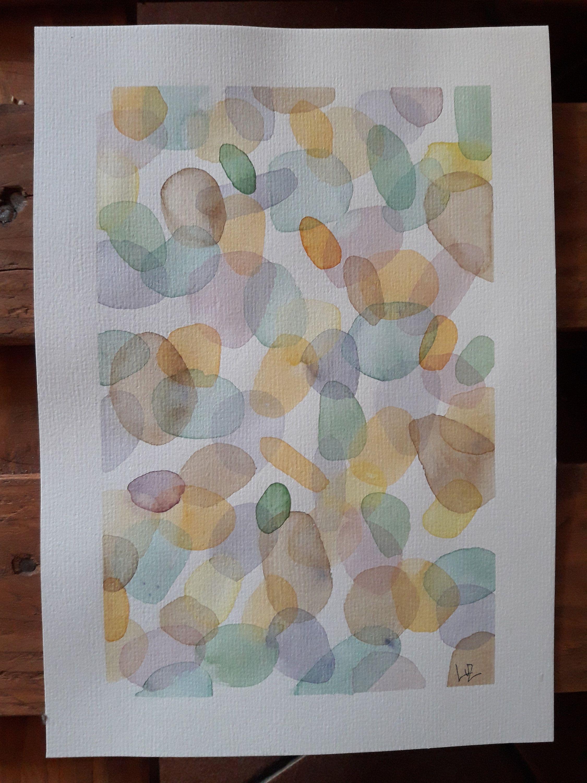 Aquarello originale astratto, Illustrazione su carta, pittura di arte moderno, opera d'arte di piccole dimensioni.