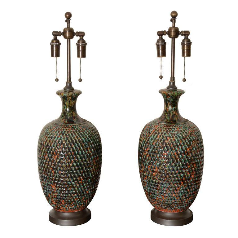 Pair Of Mottled Glazed Ceramic Lamps