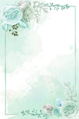 Light Green Hand Painted Spring On New Floral Wireframe Background