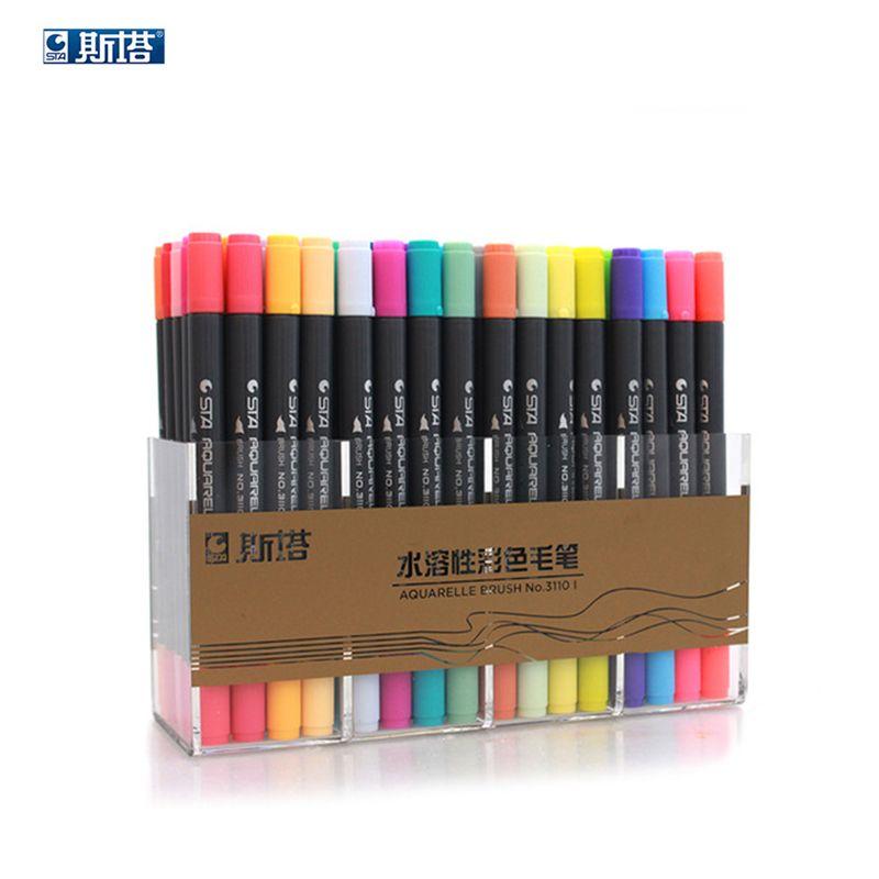 Sta 3110 80 Kleur Dual Hoofd Aquarel Borstel Markers Pen Schets