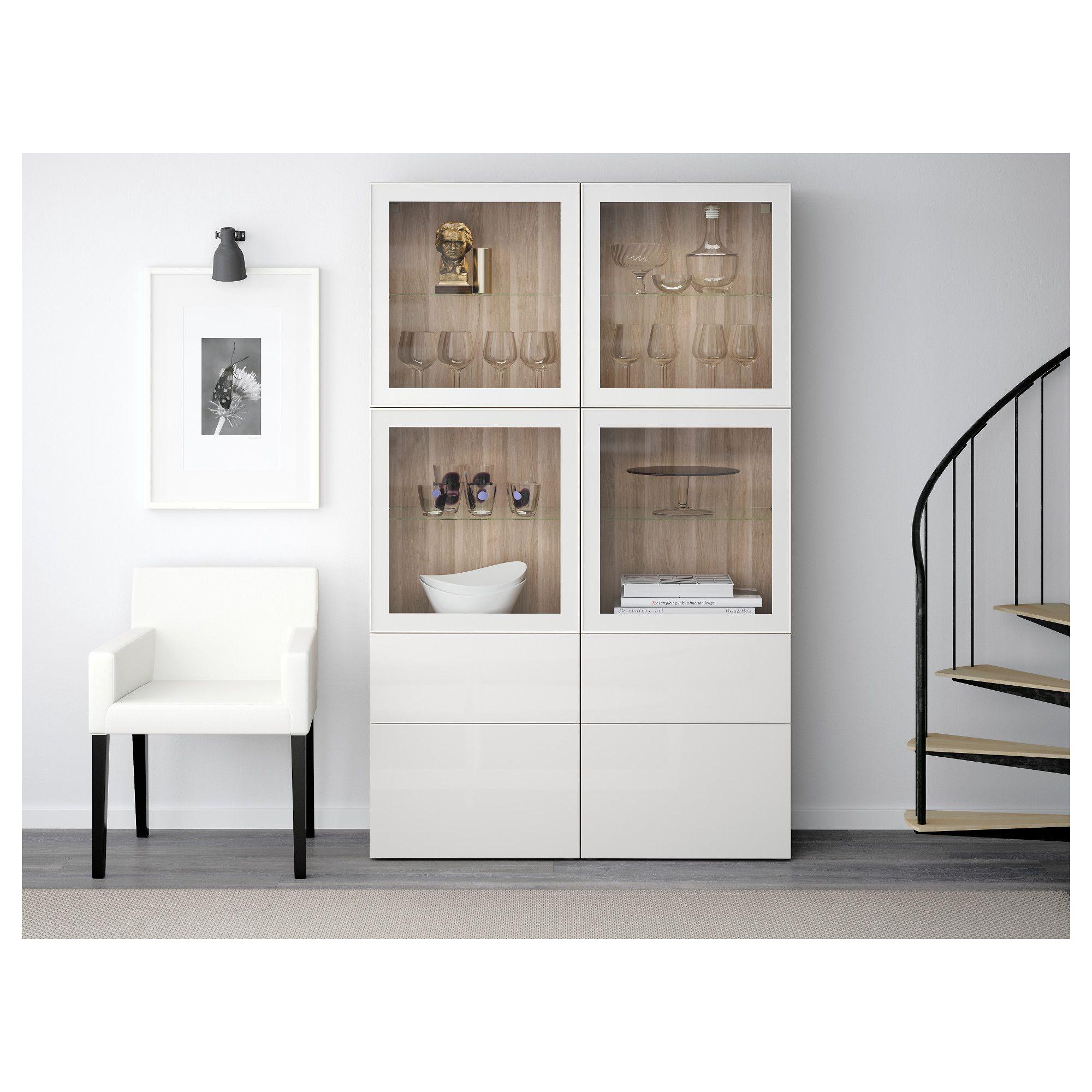 Best Storage Combination Wglass Doors Walnut Effect Light Gray