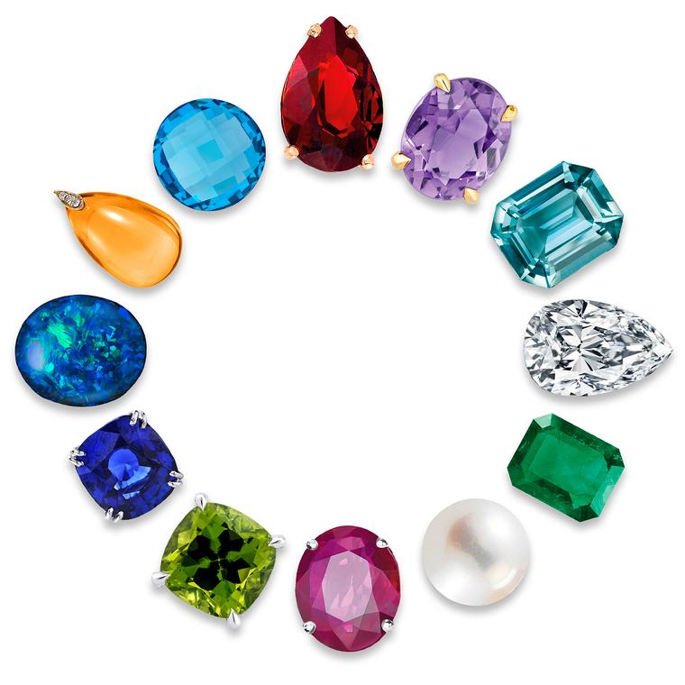 Gorgeous! Garnet, amethyst, aquamarine  diamond, emerald, pearl, ruby, peridot, sapphire, opal, citrine, blue topaz.