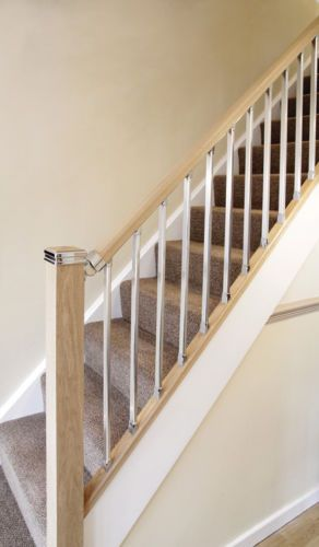 Best The Contemporary Staircase Handrail Baserail And Spindle Kit Pine Chrome Modern Staircase 400 x 300
