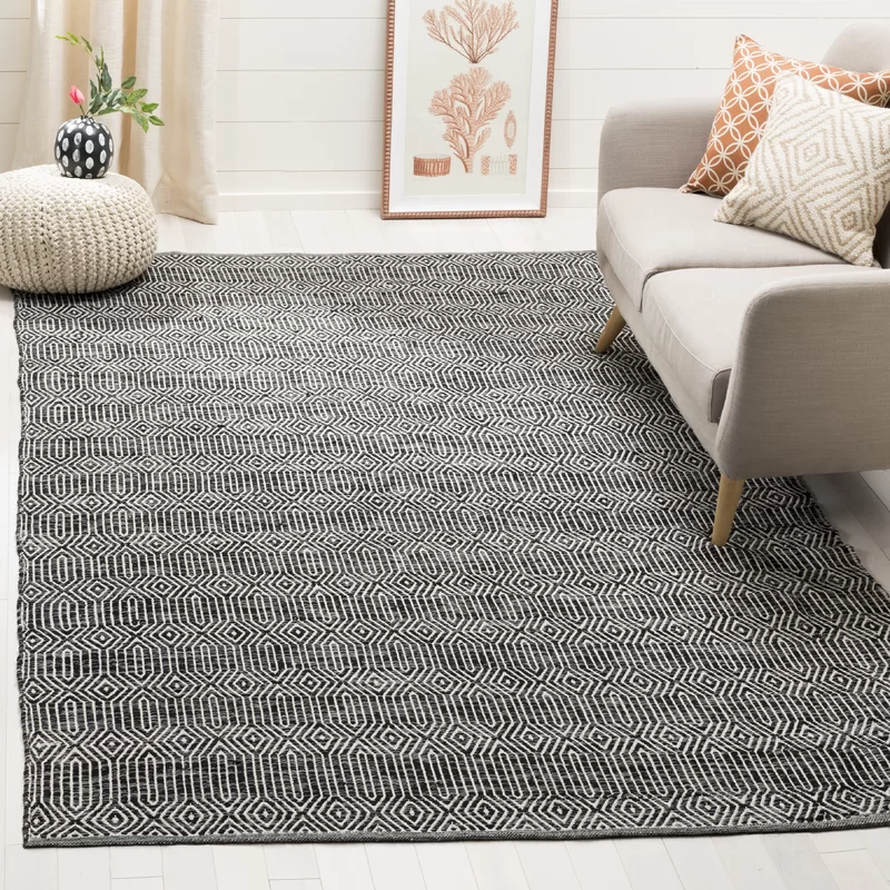 Xander Place Geometric Handmade Flatweave Cotton Ivory Dark Grey Area Rug In 2020 Dark Gray Area Rug Grey Cotton Rug Black Area Rugs