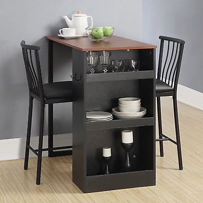 Black 3 Piece Counter Height Bar Dining Set Table Chairs Home