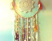 Lahaina Aloha huge 6' dream catcher FREE SHIPPING vintage lace, doily, parrot feathers. $200.00, via Etsy.