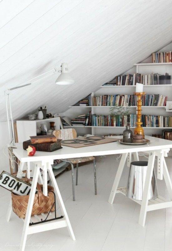 Tiny attic office, Bookshelf, Horse saws,, White, Space utilization ...
