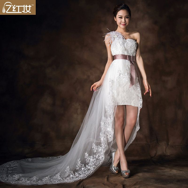 2013 wedding sexy lace one shoulder bridal wedding dress low high train straps wedding dress-inWedding Dresses from Apparel  Accessories on Aliexpress.com $98.25