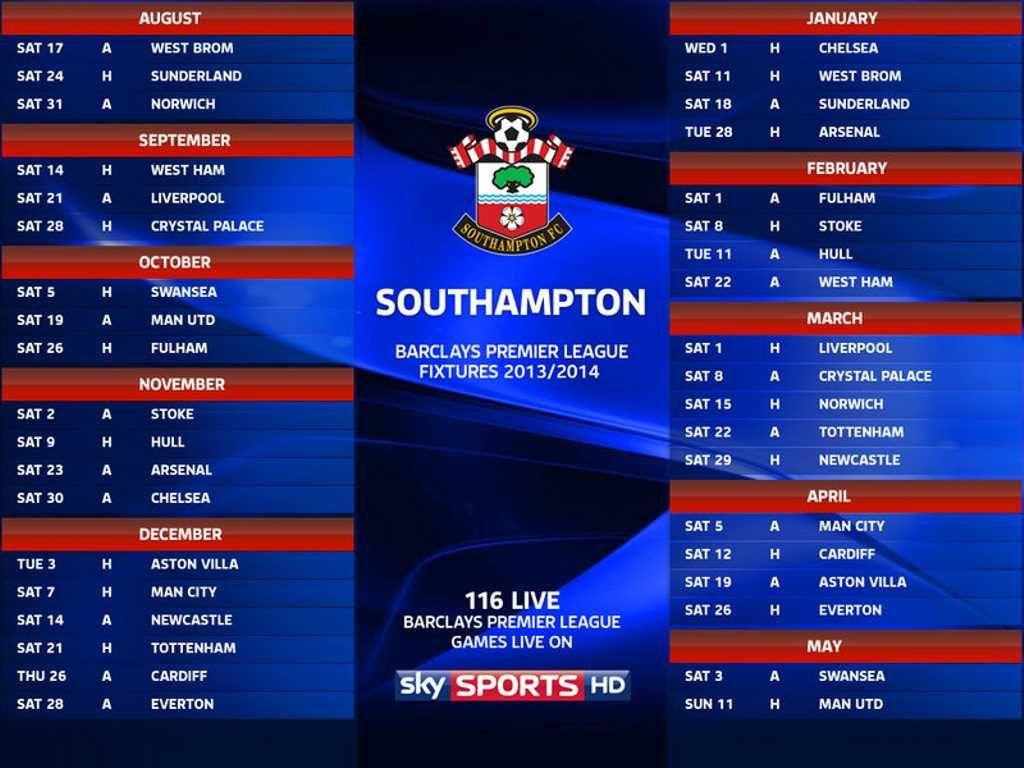 Southampton FC Fixtures Wallpaper 2013-2014